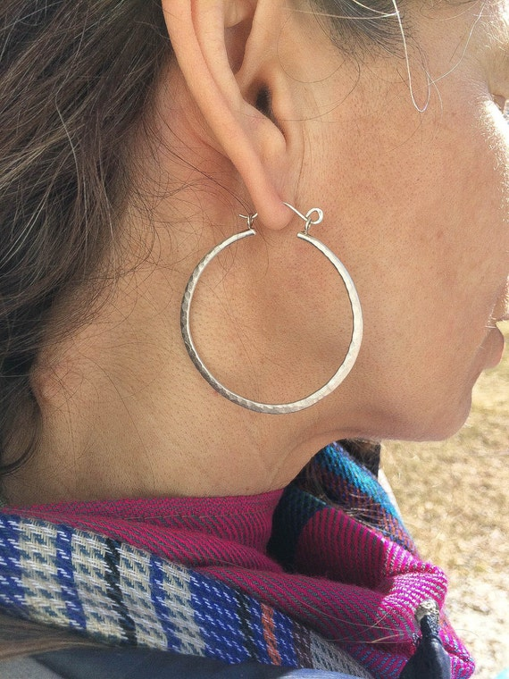 Hammered Hoop Earrings - Faceted Texture Hoops - Matte hoops - Hand Made - Variable Size Options - Choice of Sterling or 14 kt Yellow Gold