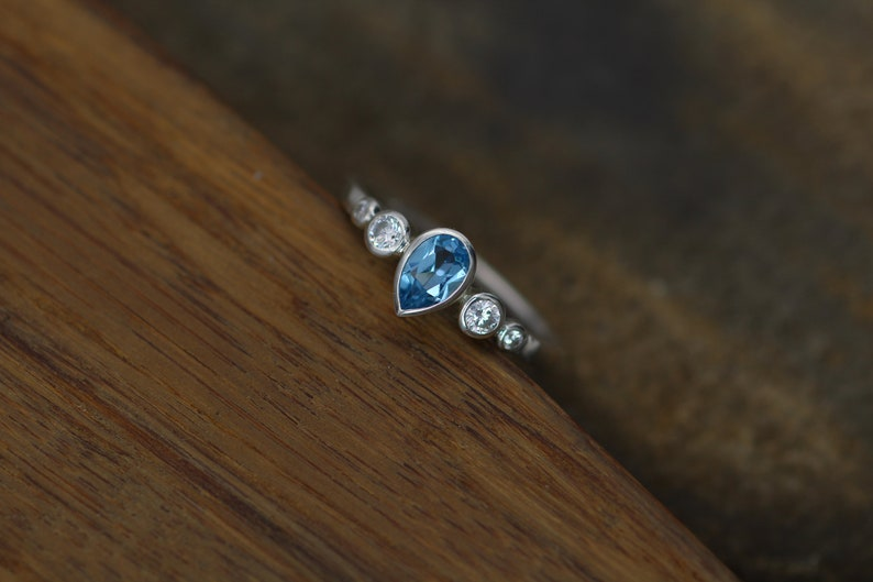 Swiss Blue Topaz Tear Drop Ring Alternative Ring Swiss Blue Topaz and Diamond Multi Bezel Engagement Ring Swiss Blue Topaz Pear Ring