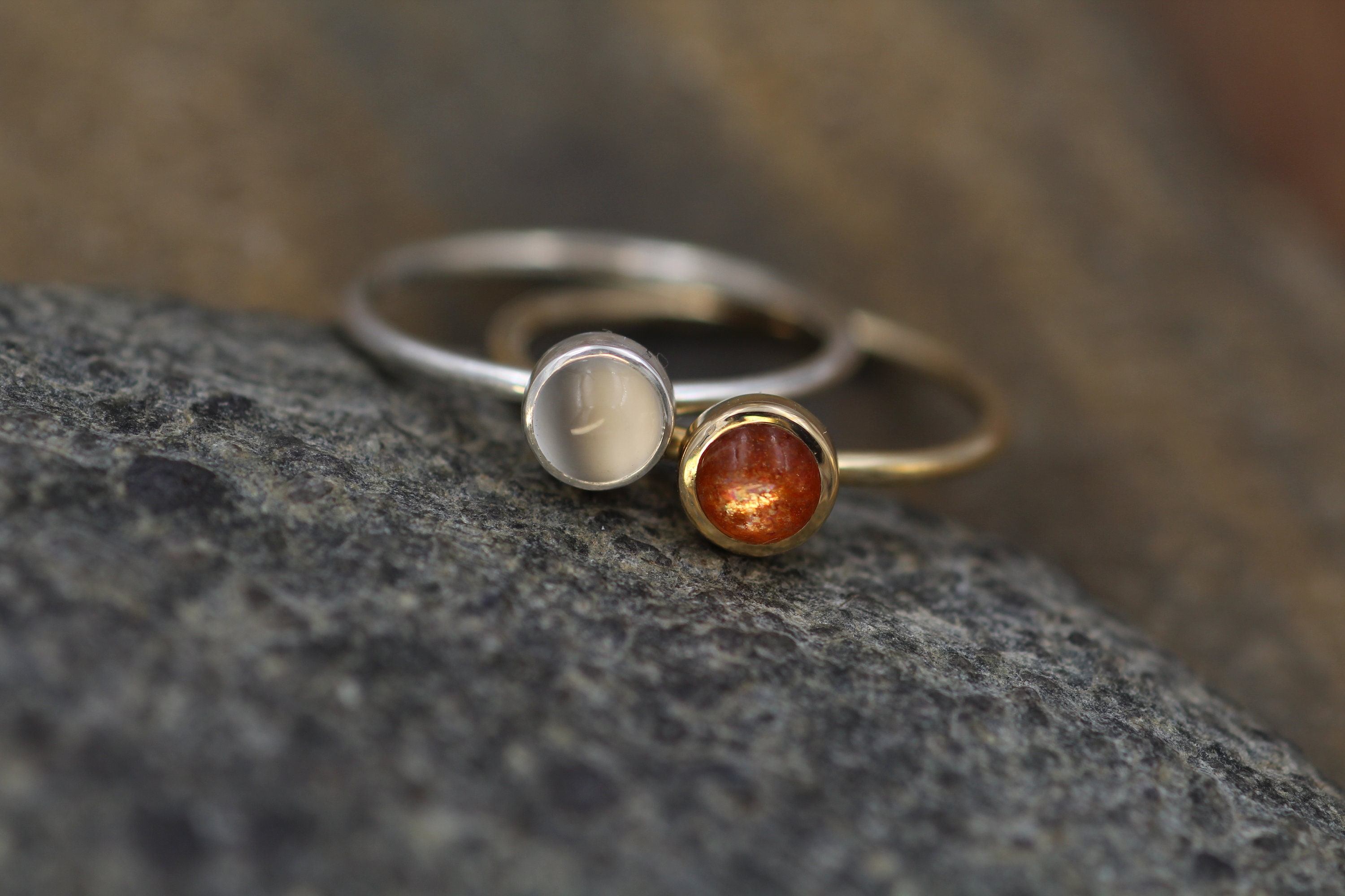 4a633add0bde78 Sun and Moon Gold and Silver Ring Set - Sunstone and Moonstone ...