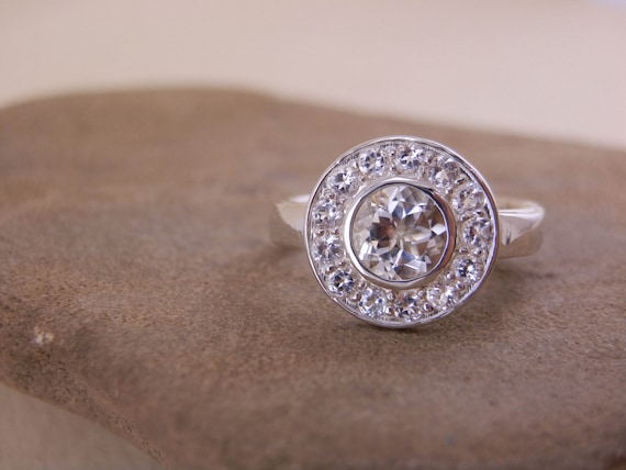 White Topaz Alternative Engagement Ring - Halo Style - Recycled Silver - Conflict Free - Halo Ring - White Topaz Ring - Large Halo