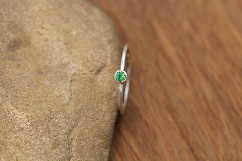 368d5ec1f Tsavorite Green Garnet 3mm Glossy Finish Stacking Ring In | Etsy