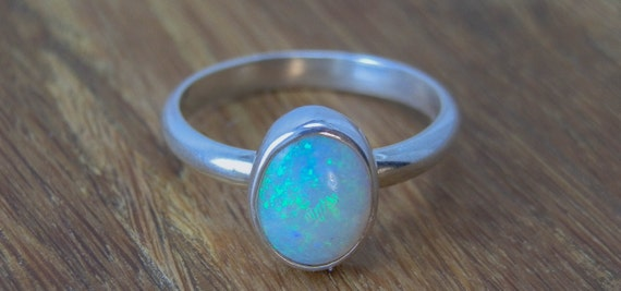 Opal Ring - Oval Opal Ring - Opal Stacking Ring - Ethiopian Opal Ring - Silver Opal Ring - Opal Oval Stacking Ring - Opal Sterling Ring