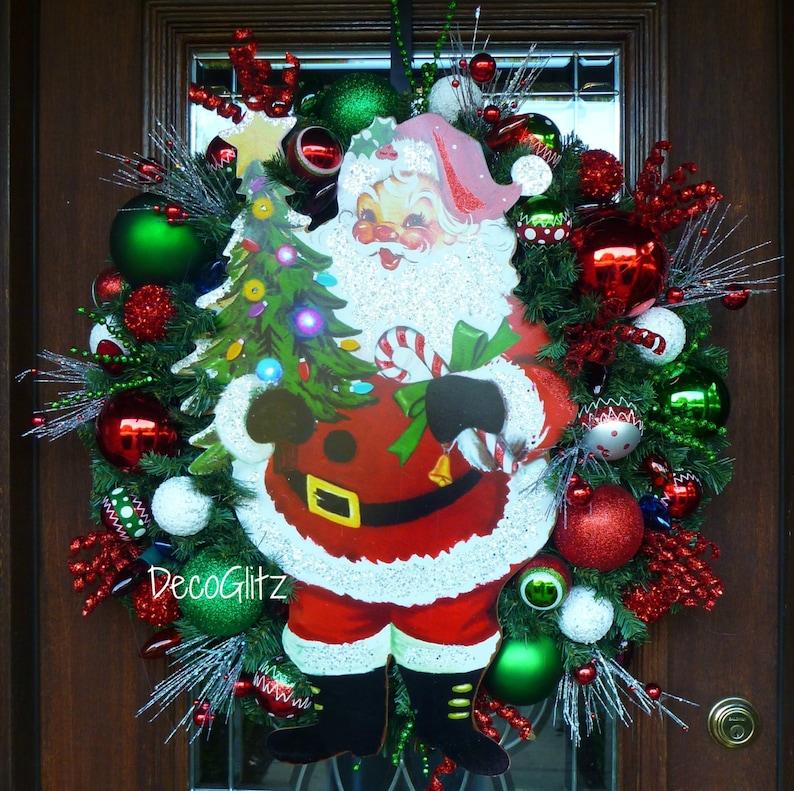 Jolly Saint Nick Christmas Wreath Old Fashioned Santa Wreath RETRO SANTA CLAUS Christmas Wreath with a Happy Santa
