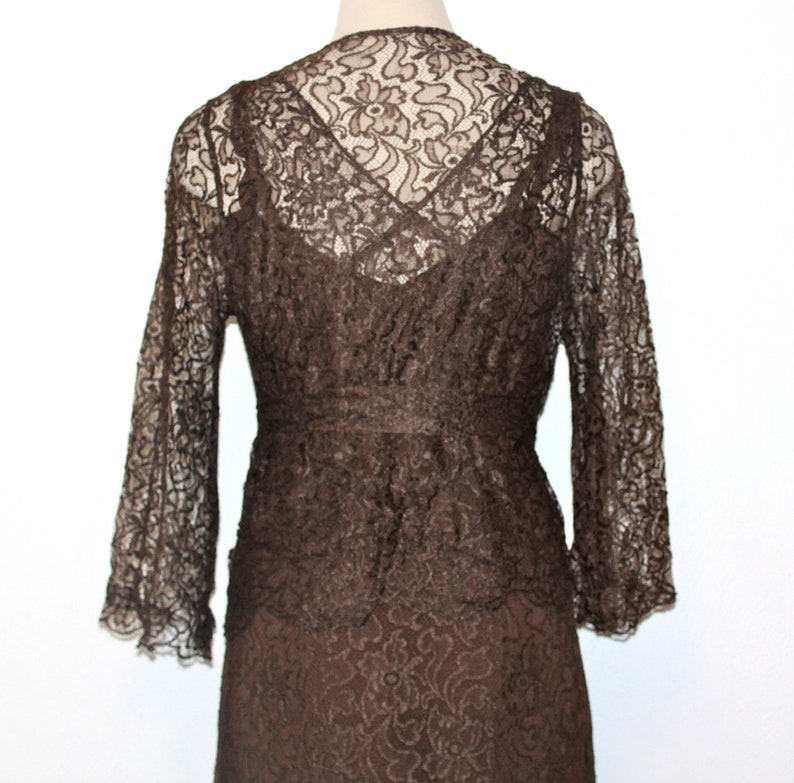7645463caa2393 30s 1930s 5-pc Lace Dress Jacket Evening Wedding Party Art   Etsy