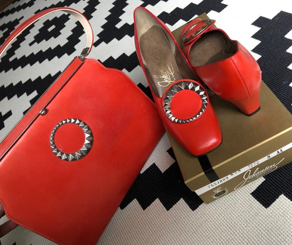 60s 70s purse heels leather MATCHING SET handbag p