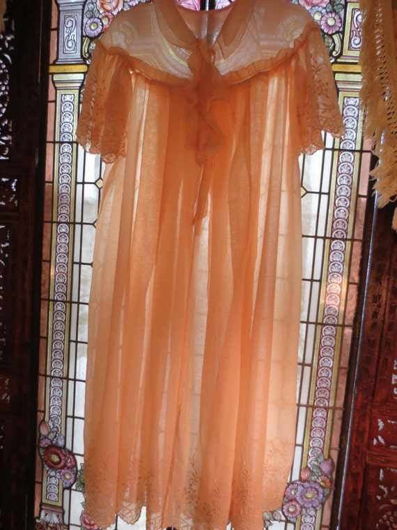 TWENTIES 1920s Sheer Cotton Peach VOILE EMBROIDERE