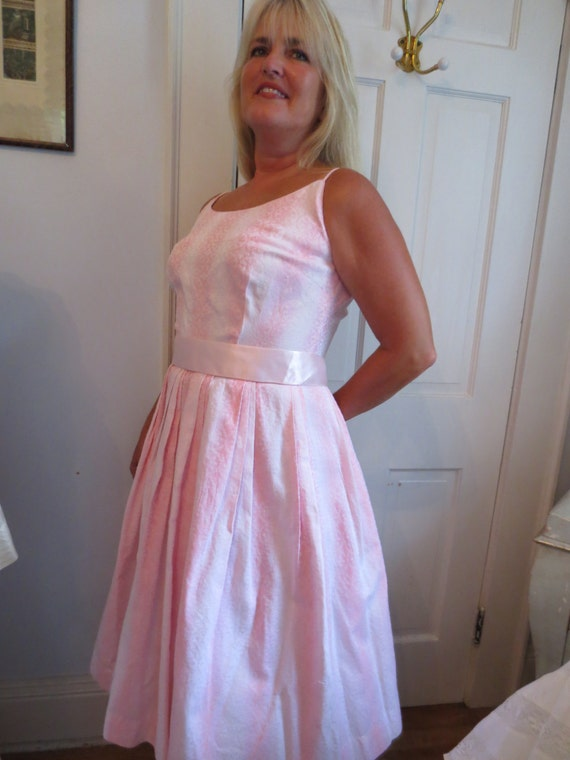Authentic FIFTIES Pink Cotton SPAGHETTI Strap SUND