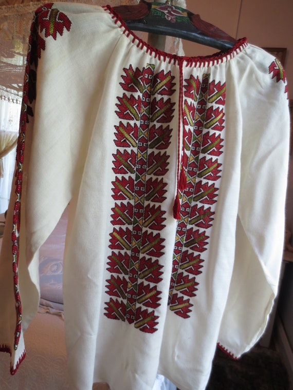 Exceptional Hand EMBROIDERED Folk BLOUSE 1960s