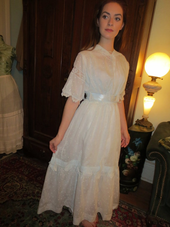 ICE blue EDWARDIAN Ornate Lace Trim DRESS