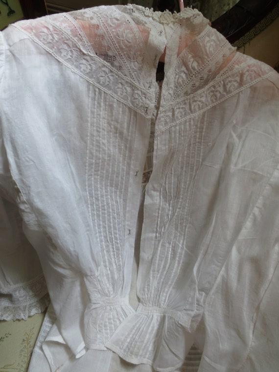 1890 VICTORIAN WHITE BLOUSE Pintucks & Lace - image 6