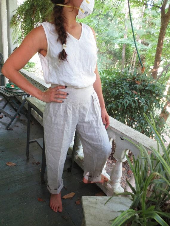 Classy Pure LINEN DRESS PANTS Pearl Button Side Cl