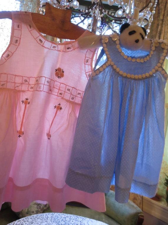Lot: 3 Antique LITTLE GIRLS Cotton DRESSES 1900, 1