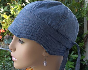 Womens Cancer Hat Soft Cotton Chemo Hat Handmade in the USA Blue Denim Chambray Reversible MEDIUM