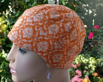 Womens Chemo Headwear Chemo Hat Soft Cancer Cap Orange Cotton Cap Reversible Small/Medium