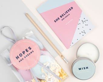 She Believed She Could Gift Bag – Milly Inspired – gifts for friends – party favours – hopes and dreams – notebook – scented candle - wish