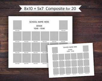 8x10 and 5x7 for 20, Class Composite, Memory Mate, Photoshop Template - INSTANT DOWNLOAD - SCH17