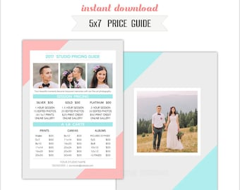 5x7 Price Guide Photoshop Template - INSTANT DOWNLOAD (PRICE23)