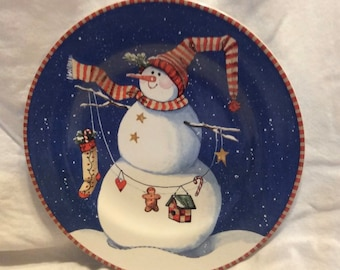 """Snow Pals Snowman Frosty Winter Christmas Holiday Party 9/"""" Paper Dinner Plates"""