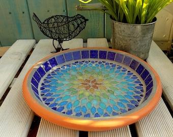 Gypsy Rainbow Mosaic Garden Yard Bird Water Bath Ornament Decoration