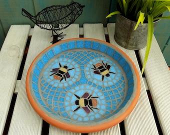 Three Bees Mosaic Garden Yard Bird Bath Ornament Decoration