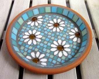 Pastel White Daisy Garden Yard Mosaic Bird Bath Birdbath Decor