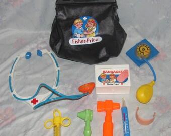 Vintage Fisher Price Doctor's Bag/Medical Kit - Bandages, Stethoscope, Cast, Thermometer, Black Bag - Pretend Play