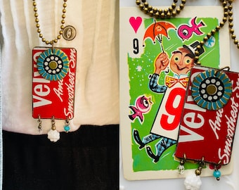 """Tin Jewelry Tag Necklace """"Velvet"""" Tin for the Ten Year Tenth Wedding Anniversary"""