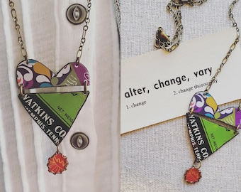 """Tin Jewelry Heart Necklace """"The Altered Heart"""" Tin for the Ten Year Tenth Wedding Anniversary"""