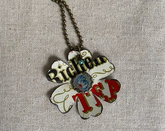 """Tin Jewelry Necklace """"Flower Girl #6"""" Tin for the Ten Year Tenth Wedding Anniversary"""