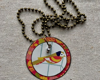 """Tin Jewelry Necklace """"Perched #2"""" Tin for the Ten Year Tenth Wedding Anniversary"""