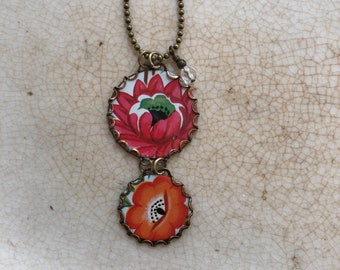 """Tin Jewelry Necklace """"Bright Bouquet"""" #1  Tin for the Ten Year Tenth Wedding Anniversary"""