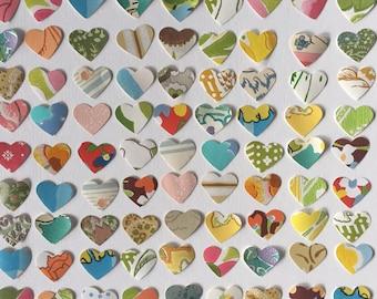 1960s Vintage wallpaper- 100 vintage hearts- die cut/ paper punch, scrapbook supply