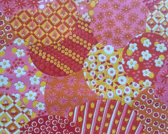 Vintage wallpaper- 1960s pop pink floral by Thibeault-by the yard