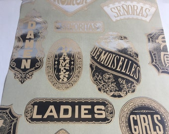 Vintage Wallpaper- 1960s Flocked Mylar girls and ladies in other languages- by the yard