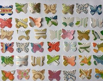 1960s vintage wallpaper- 50 paper butterflies, die cut/ paper punch, scrapbook