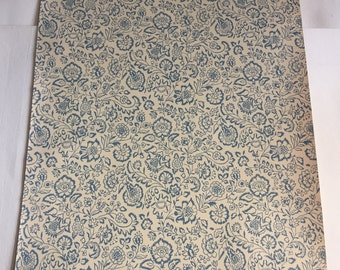 Vintage Wallpaper-1960s sweet blue floral on cream- by Old Stone Mill-by the yard