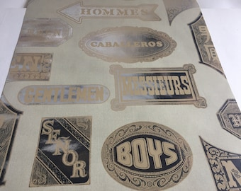 Vintage Wallpaper- 1960s Flocked Mylar boys and gentlemen in other languages- by the yard