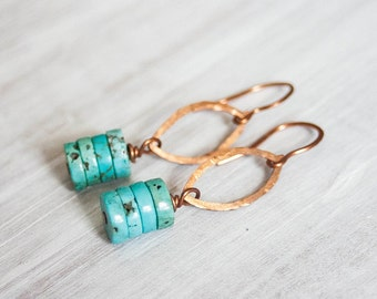 Copper Marquis and Turquoise Stacked Heshi Bead Earrings Boho Jewelry Trendy Simple