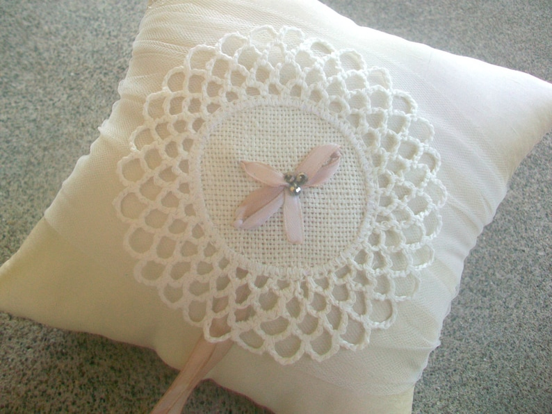 Ivory Estonian Embroidered Lace Ring Bearer Pillow with Champagne Ribbon Wedding Ring Pillow Rustic Wedding Accessories Beaded Bridal Gift