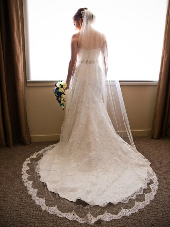 Long Lace Edged Veil Lace Long Veil Lace Edged Veil Wedding Lace Veil Long Veil With Lace Circle Veil Cathedral Veil Lace Veil Long