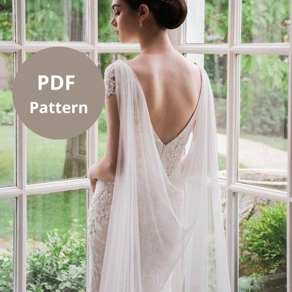 Pattern for Grecian Draped Wedding Cape Veil DIY Wedding Cape