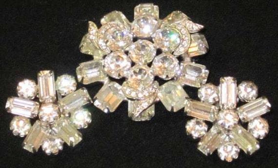 Weiss Clear Rhinestone Earring and Broach Set