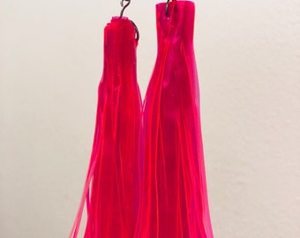 Orange Vinyl Fringe Earrings