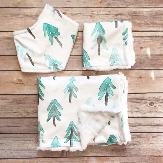 Baby Shower Gift Set - Forest Baby Blanket - Tree Baby Blanket - Forest Nursery - Woodland Baby Blanket - Christmas Baby Gift Boy - Holiday