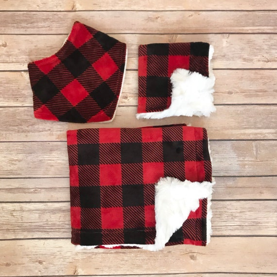 Baby Shower Gift Set - Buffalo Plaid Baby Blanket - Buffalo Check Baby Blanket - Buffalo Plaid Nursery - Buffalo Plaid Baby Bedding - Boy