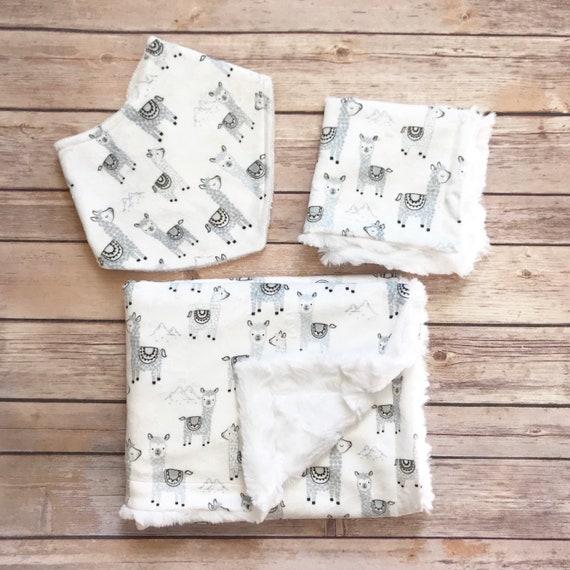 Baby Shower Gift Set - Alpaca Baby Blanket - Alpaca Nursery - Alpaca Bandana Bib - Minky Blanket - Alpaca Baby Shower - Llama Baby Blanket