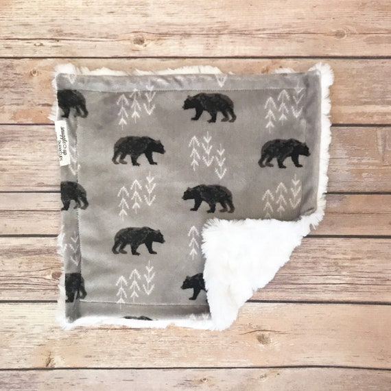 Security Blanket - Bear Baby Blanket - Woodland Nursery - Bear Baby Gift - Lovey Blanket - Bear Nursery Bedding - Lovie Blanket - Baby Gift