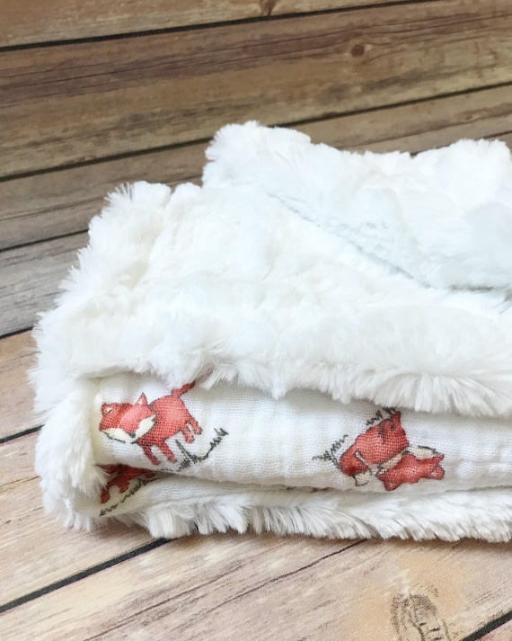 Infant Baby Blanket - Fox Baby Blanket - Woodland Nursery - Car Seat Blanket - Gauze Blanket - Fox Baby Bedding - Fox Baby Items - Baby Gift