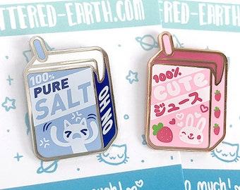 100% Cute Juice Box Pin - Pure Salt Pin - Salty Juice Box Pin - Strawberry Juice Box Pins -  Bunny Juice Box Hard Enamel Pins