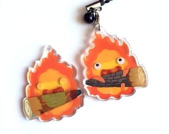 Calcifer Charm - Reversible + Double-Sided Ghibli Fire Acrylic Keychain